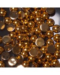 Rhinestone Round Gold M 100pcs